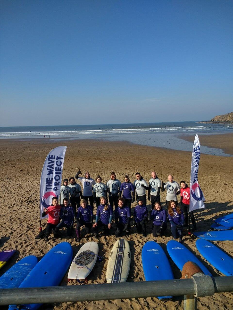 Surfers after Wave Project session at Croyde